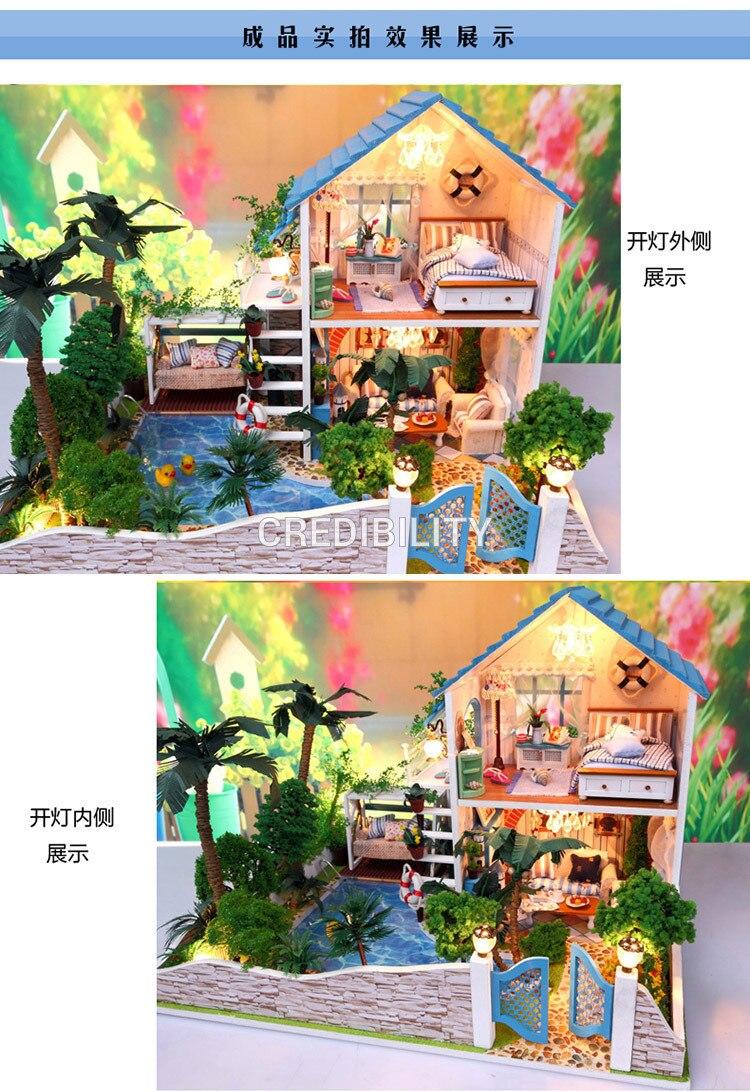 13832 Hongda Large Diy Wooden Dollhouse Miniature Villa Doll House Ocean Toy Beauty Set Mainan Anak Oct84004ab Multicolor Undefined