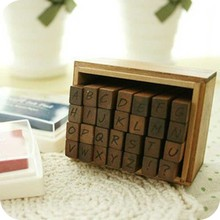 28pcs Vintage DIY Number And Alphabet Letter Wood Rubber Stamps Set With Wooden Box For Teaching And Play