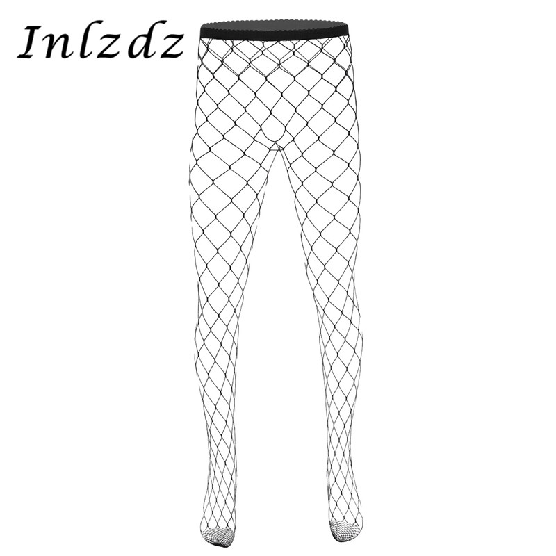 Men Pantyhose Stockings Hot Hollow Out Fishnet See Through Sheer Elastic Waist Closed Toes Tight Leggings Stretchy Pantyhose