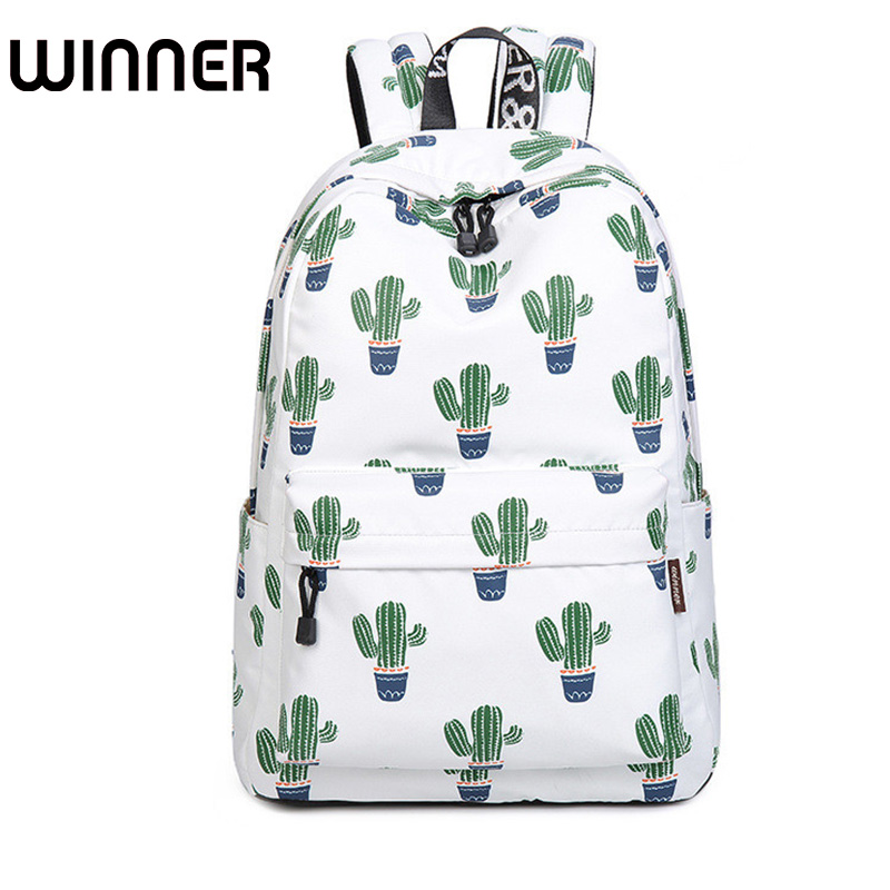 14-15.6 Inch Laptop Backpack Women Waterproof Cute Cactus Printing Book Bag Female School Bagpack For Teens Girls