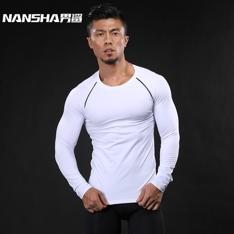 NANSHA Brand Men Compression   Shirt   Fitness Jogger Exercise Clothes Fashion Casual Solid Long Sleeve   T  -  Shirt