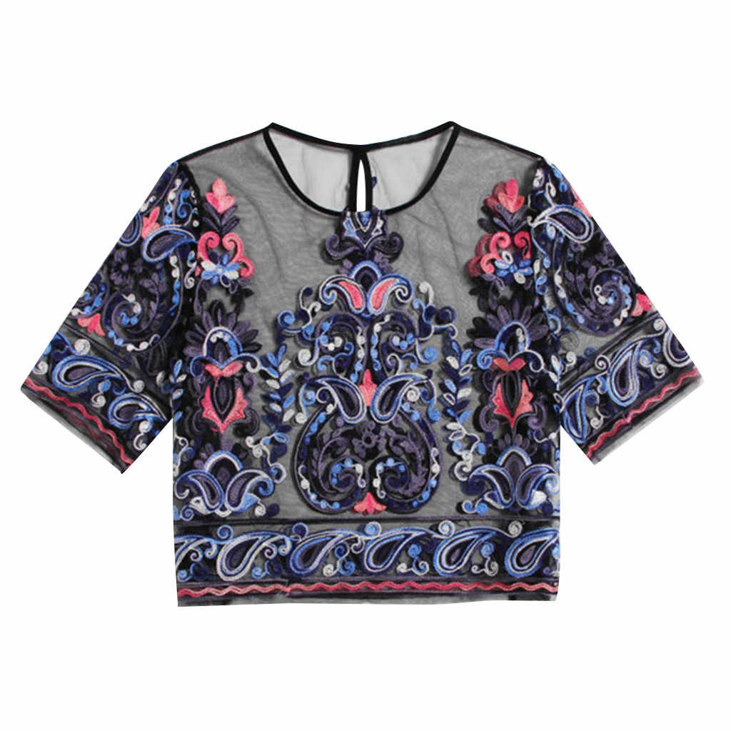 2019 Fashion Vrouwen Dames Korte Mouw Mesh Ronde Hals Borduren Mesh Shorts Blouse Blusas Mujer De Moda Blusa
