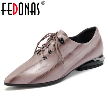 FEDONAS Summer Genuine Leather Women Pumps 2019 New Fashion Pointed Toe Mixed Colors Shoes Woman Lace-up Shallow Single Shoes