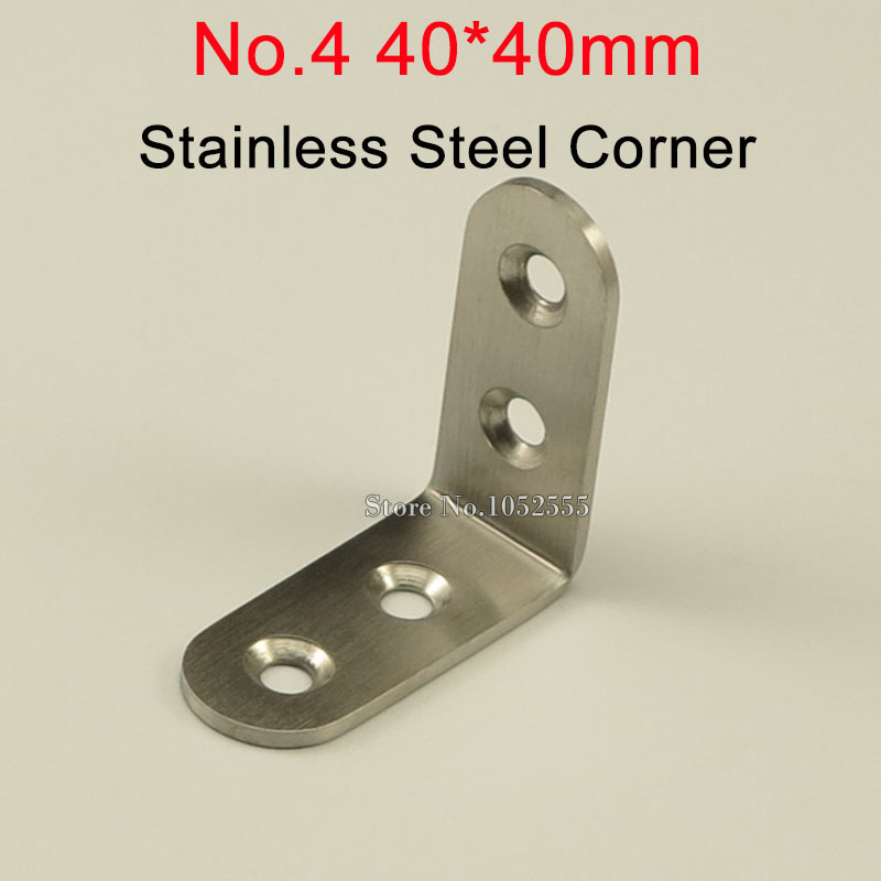 100pcs 40*40*17mm stainless steel angle bracket L shape brushed finish frame board support fruniture hardware K244