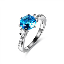 CMAJOR 2017 New Collection Silver Plated Moonlight Blue & Sky-Blue Crystal Finger Rings Colorful CZ Rings For Women Wedding Ring