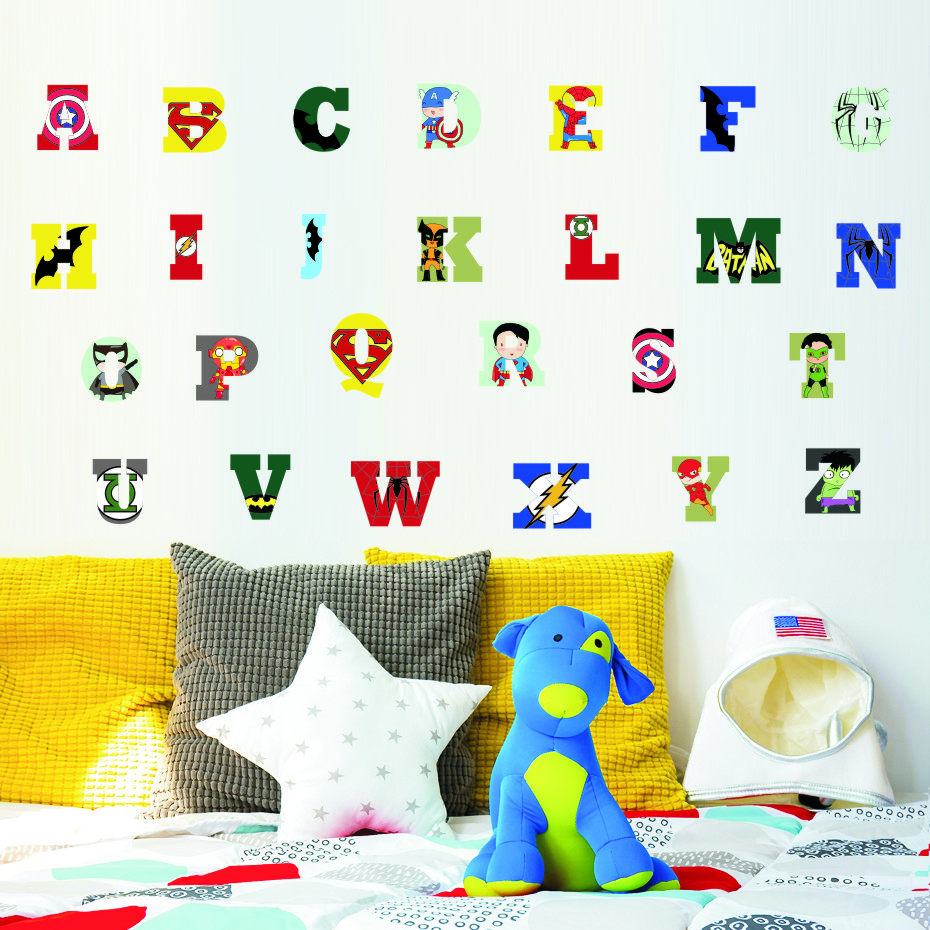 Creative Super Hero Style Alphabet ABC Wall Decal 26 Letters DIY Art Vinyls Stickers Nursery Kids Room Home Decorative Wallpaper (5)