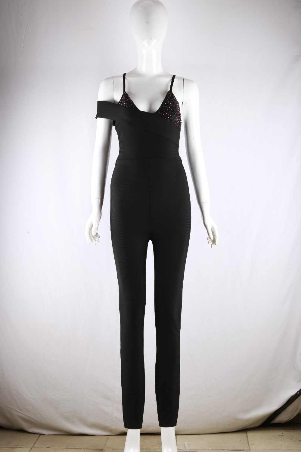 Asia-Pacific women's favorite fashion straps jumpsuit black beaded tight bodysuit high quality elastic tight feet pants 2019 new