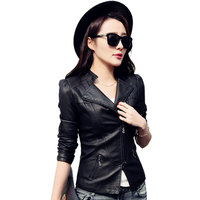 Woman Leather Jackets Pu Autumn Long Sleeve Leather Motorcycle Black Red Women S Jacket