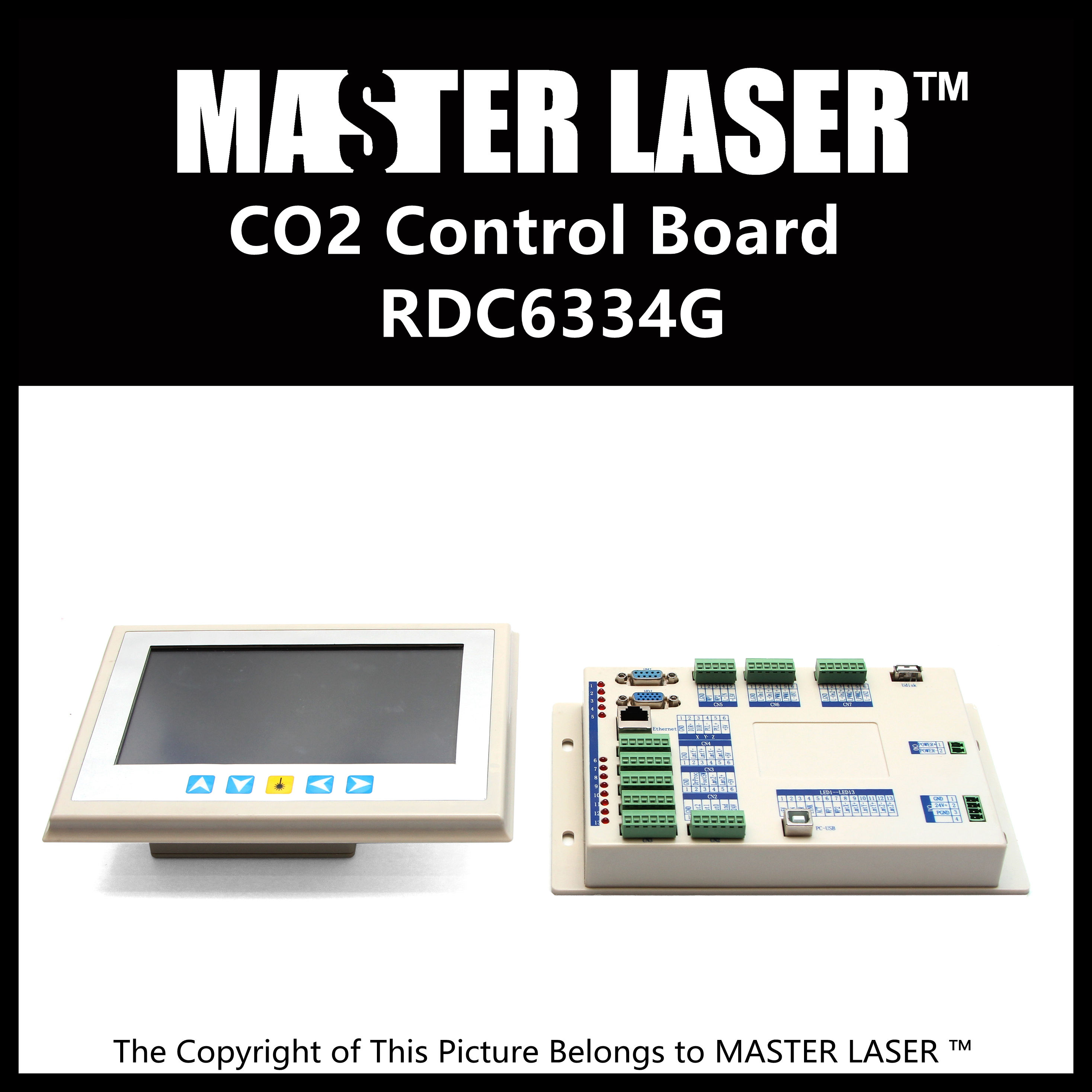 2015 Latest Laser Cutting Machine Control Board RDC 6334G Touch Panel with New Softer Laser Card and Support PPI Laser Cards