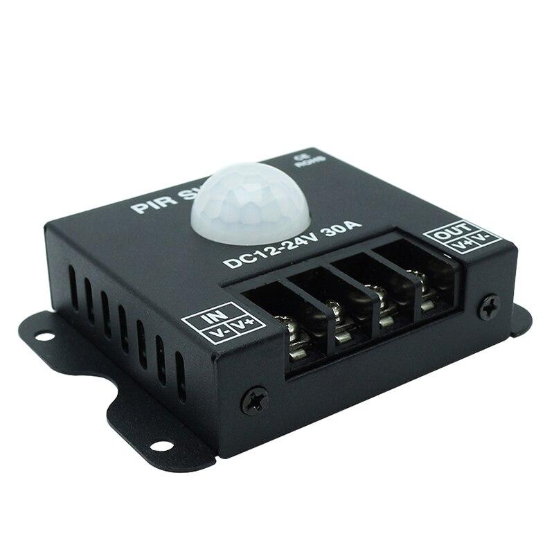 Black DC12V-24V 30A PIR Switch, Sensor Switch, Passive Infrared Swicth for Flexible LED Strips Light,
