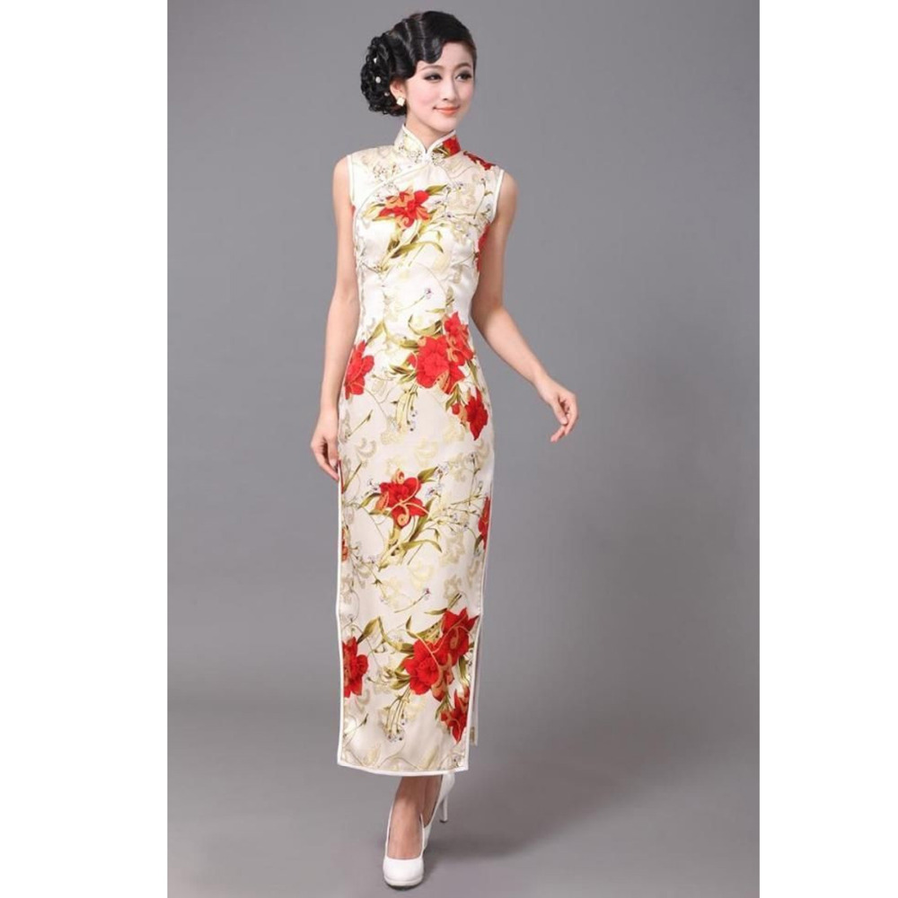 Free Shipping White Chinese Tradition Womens 100 Silk Flower Long