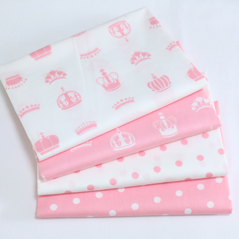 100x160cm Printed Crown cotton Twill Fabric by meter for DIY Sewing Bed Sheet Dress Making Material For Baby&Child