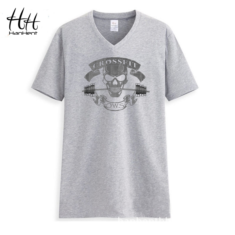 bb935cfa3 HANHENT Crossfit Mens Undershirts V-neck Loose Cotton Summer Tee shirt Male  2019 Fitness Clothes