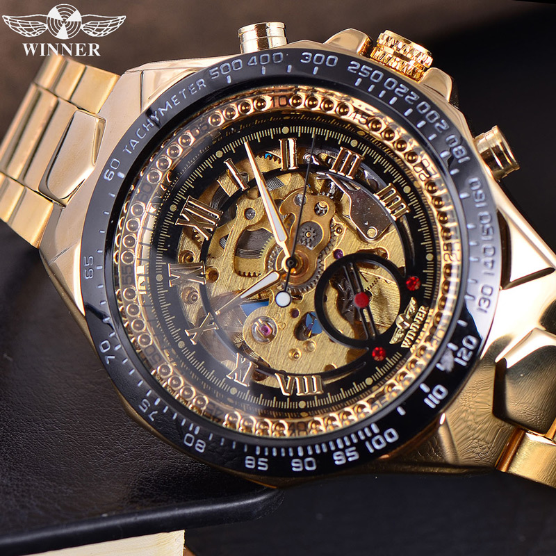 font b Winner b font Automatic Mechanical Watches Men s Gold Luxury Steel Wrist Watch