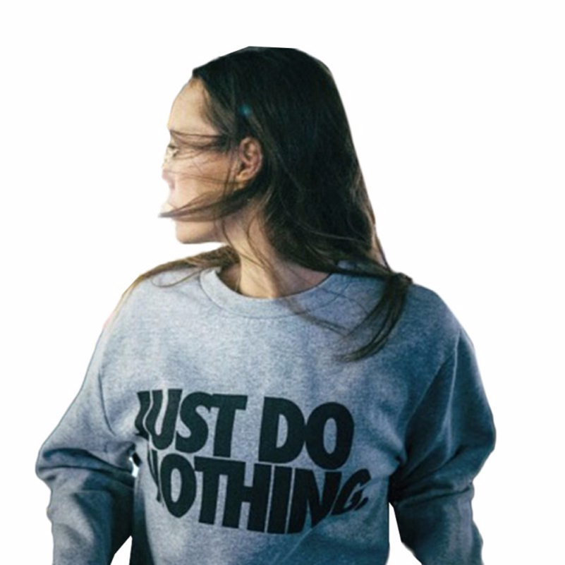 letter print just do nothing hoodies women loose full sleeve plus size cotton sweatshirts casual grey harajuku pullovers 40J