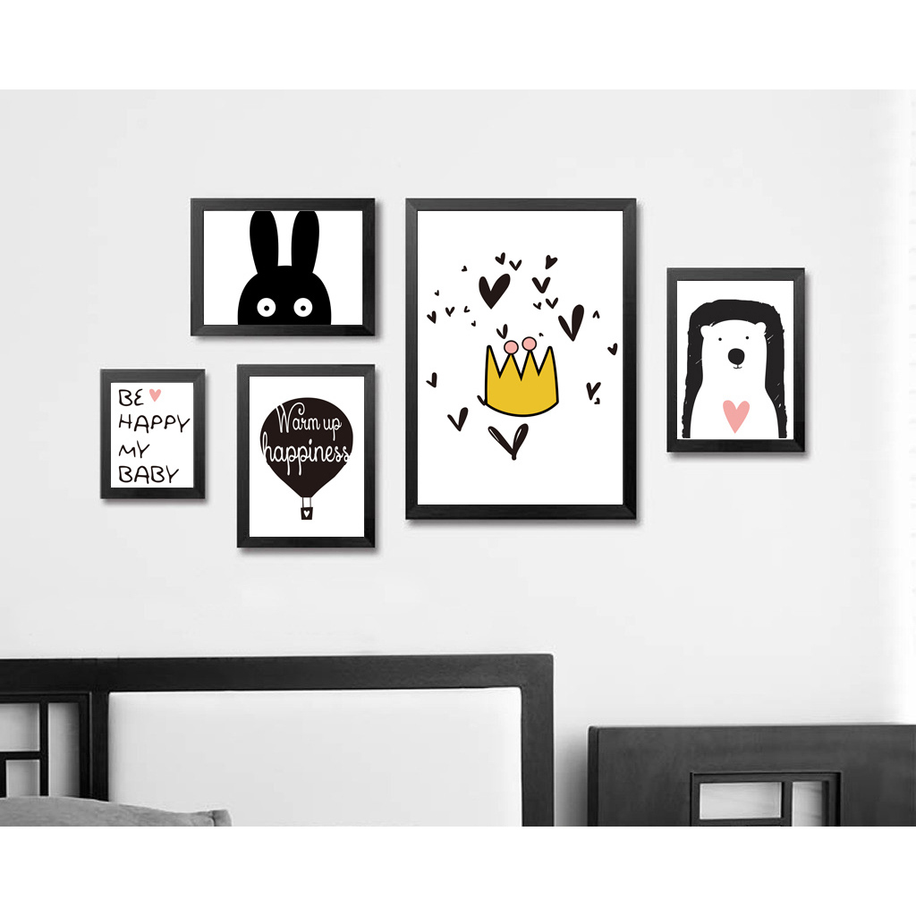 Cute Cartoon Animal Minimalist Art Canvas Poster Print Modern Nursery Picture For Room Decor Rabbit Bear Motivational Quote Fa53 In Painting Calligraphy