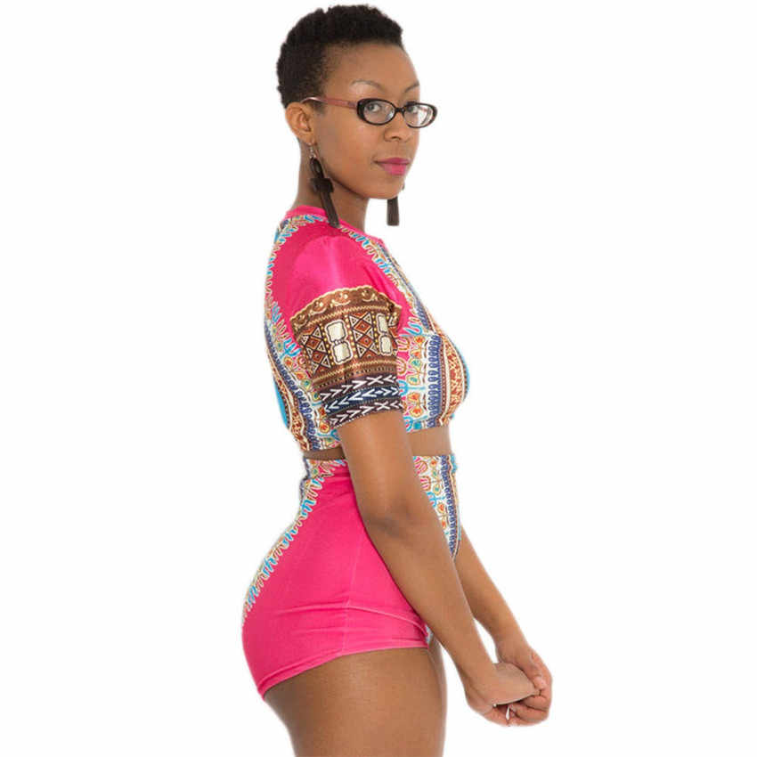 67e1154f08d ... High Waist Swimwear Plus Size Women 2019 Swimsuit Conservative Tankini  Set African Print Short Sleeve Swimming ...