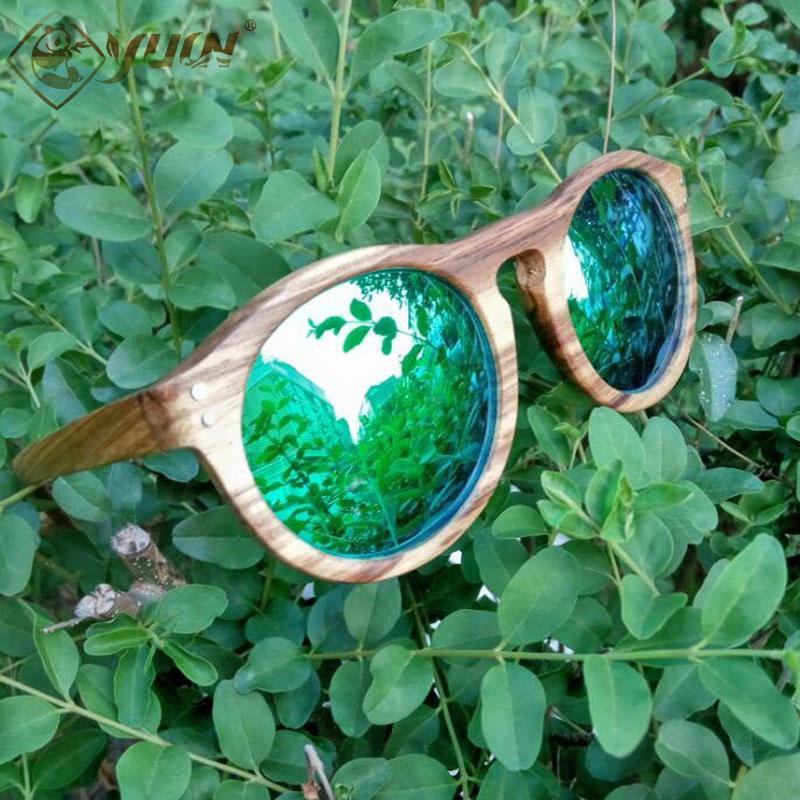 New 2017 Polarized Wood Sunglasses Retro Round Frame Driving Sun Glasses Handmade Wooden Eyewear Glasses For