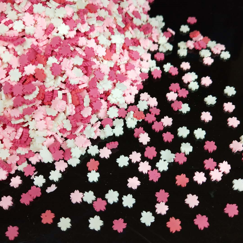 20g/lot Sakura Polymer Hot Soft Clay Sprinkles Colorful Flower Tiny Cute Plastic Klei Mud Particles Cherry Blossoms