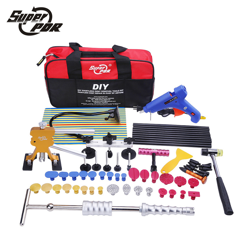 Car body repair tool to remove dents PDR tool kit glue gun slide hammer reflector board hand tools set for auto tool kit 147 pcs portable professional watch repair tool kit set solid hammer spring bar remover watchmaker tools watch adjustment