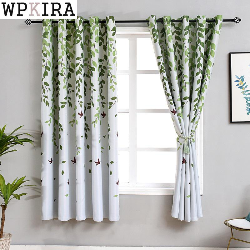 Rustic Short Curtains For Kitchen Pastoral Plant Bedroom Decorations Window Curtain Living Room Green Drapes PC026&30