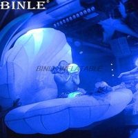 2mW Concert stage decoration inflatable shell /sea shell/clam shell decoration with led novely romantic wedding ideas