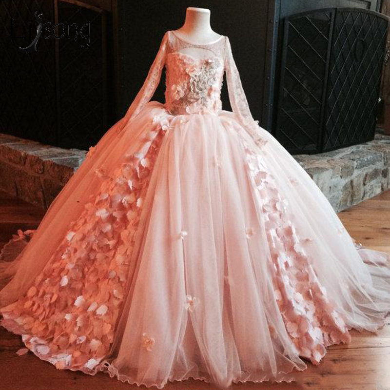 Peach Pink Floral Tulle Pageant Dresses For Little Girls Puffy Long Flower Girl Dresses Full Sleeves Lace Communion Dresses