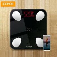 iCOMON USB 25 body data smart bathroom scales floor human weighing mi scale body fat bmi weight scale bluetooth balance 180kg