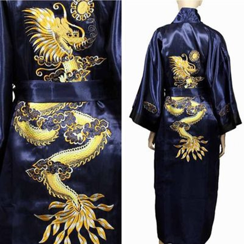Bathrobe Men Satin Silk Robe Embroidery Dragon Kimono Sleepwear China Fashion Style Big Size Man Pyjamas