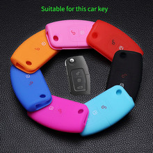 Keys Bag Protector car Key silicone shell 3 buttons remote keychain case holder for Ford Focus Fiesta Focus Mondeo Ecosport Kuga(China)