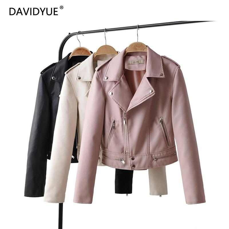 Black biker jacket women zipper pink   leather   jacket long sleeve PU chaqueta mujer coat turn down collar modis clothes fall 2019