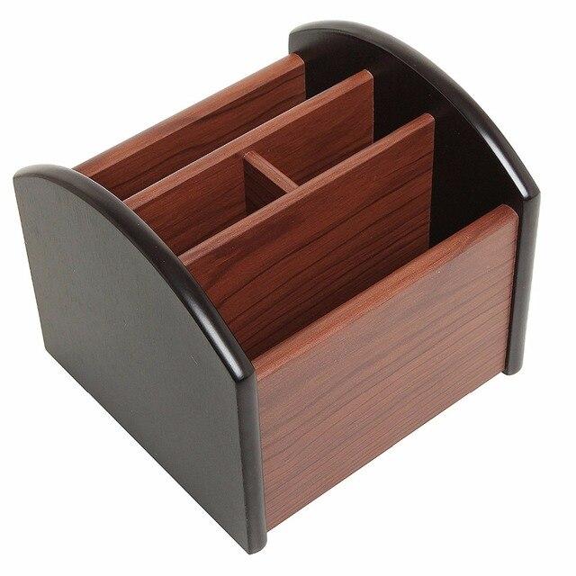 2017 Hot Multi Function 4 Layer Wooden Revolving Office Stationery Desktop  Supplies Storage Organizer Remote