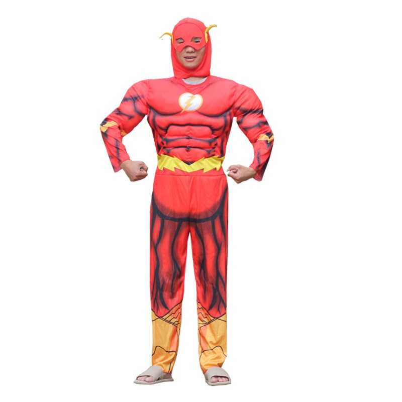 The Flash adults Muscle Jumpsuit Mask Superhero Fancy Dress Halloween Cosplay Costume mens Carnival full body suit costumes