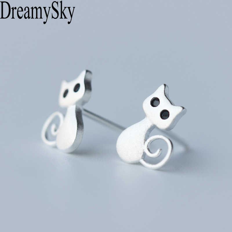 Dreamysky 100% Настоящее чистое 925 пробы Серебряные серьги для Для женщин S925 кошка серьги стерлингового серебра-ювелирные изделия