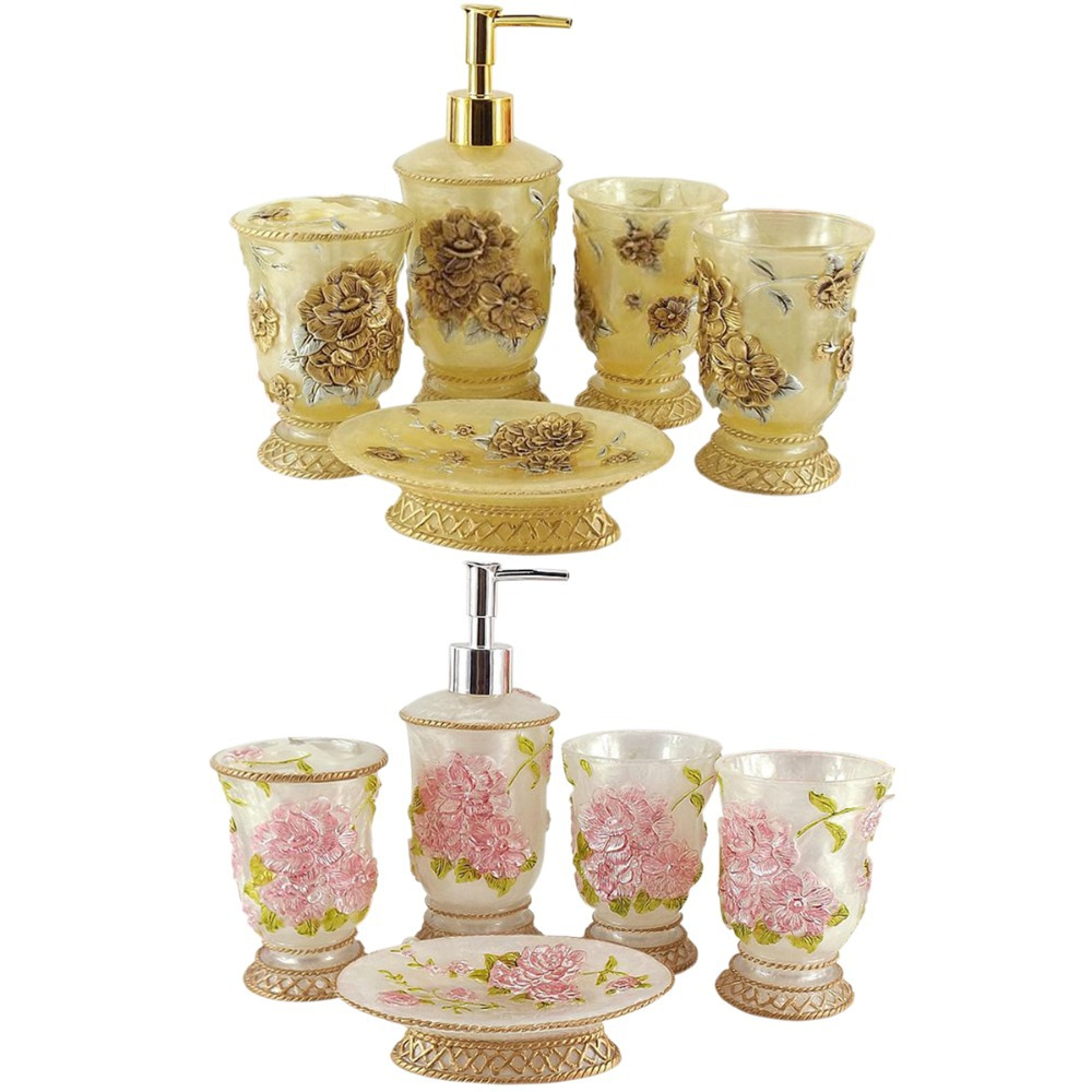 High Quality Art Gift Floral Drawing Bathroom Set Pink/Gold DIY 5 ...