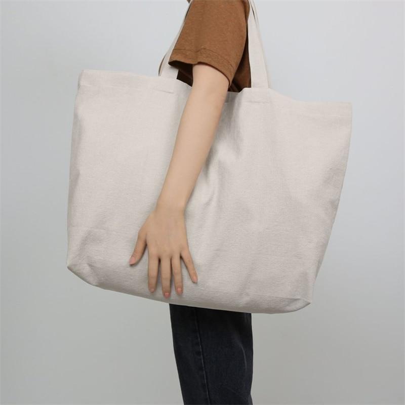 Customize Logo Tote Reusable Cotton Women  Storage Shopping Bag Fabric Cotton Cloth Beach String Handbags