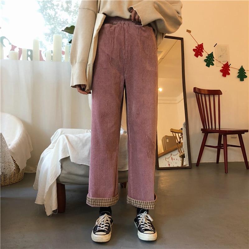 3 Colors Mihoshop Ulzzang Korean Korea Women Fashion Clothing Chic Loose Corduroy Straight   Wide     Leg     Pants