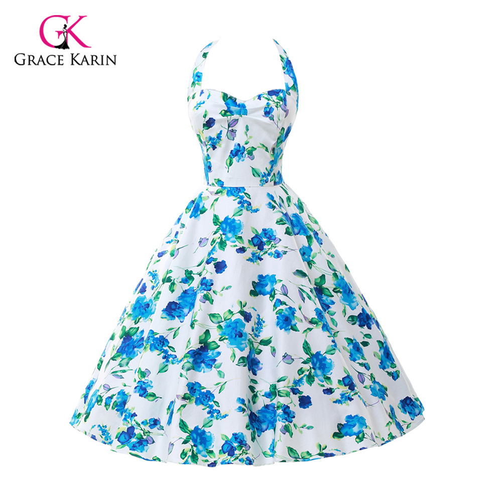 2018 Plus Size Womens clothing New Summer Style 50s Vintage pin up 60s   Cocktail     dresses   Rockabilly Retro Floral print Party gown