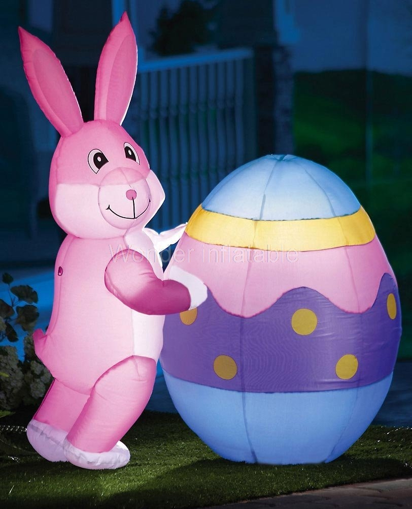 Giant Inflatable Easter Bunny Pushing Eggs With Led Lights For Party