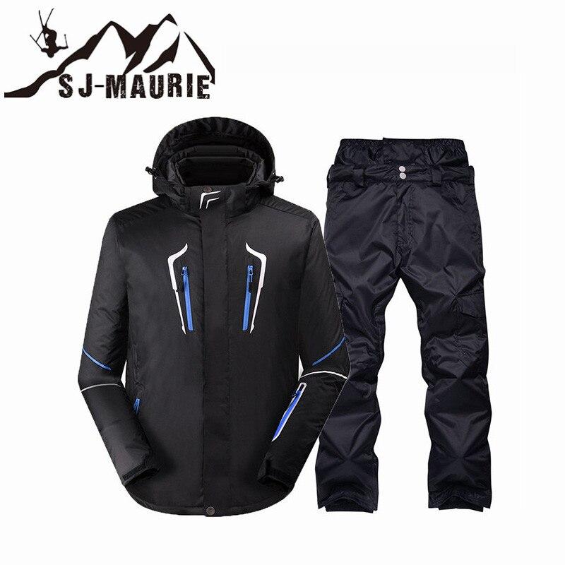 Sj-maurie hommes Ski costume Snowboard veste et pantalon hommes hiver Sport de plein air imperméable coupe-vent neige costume thermique hommes Ski costume