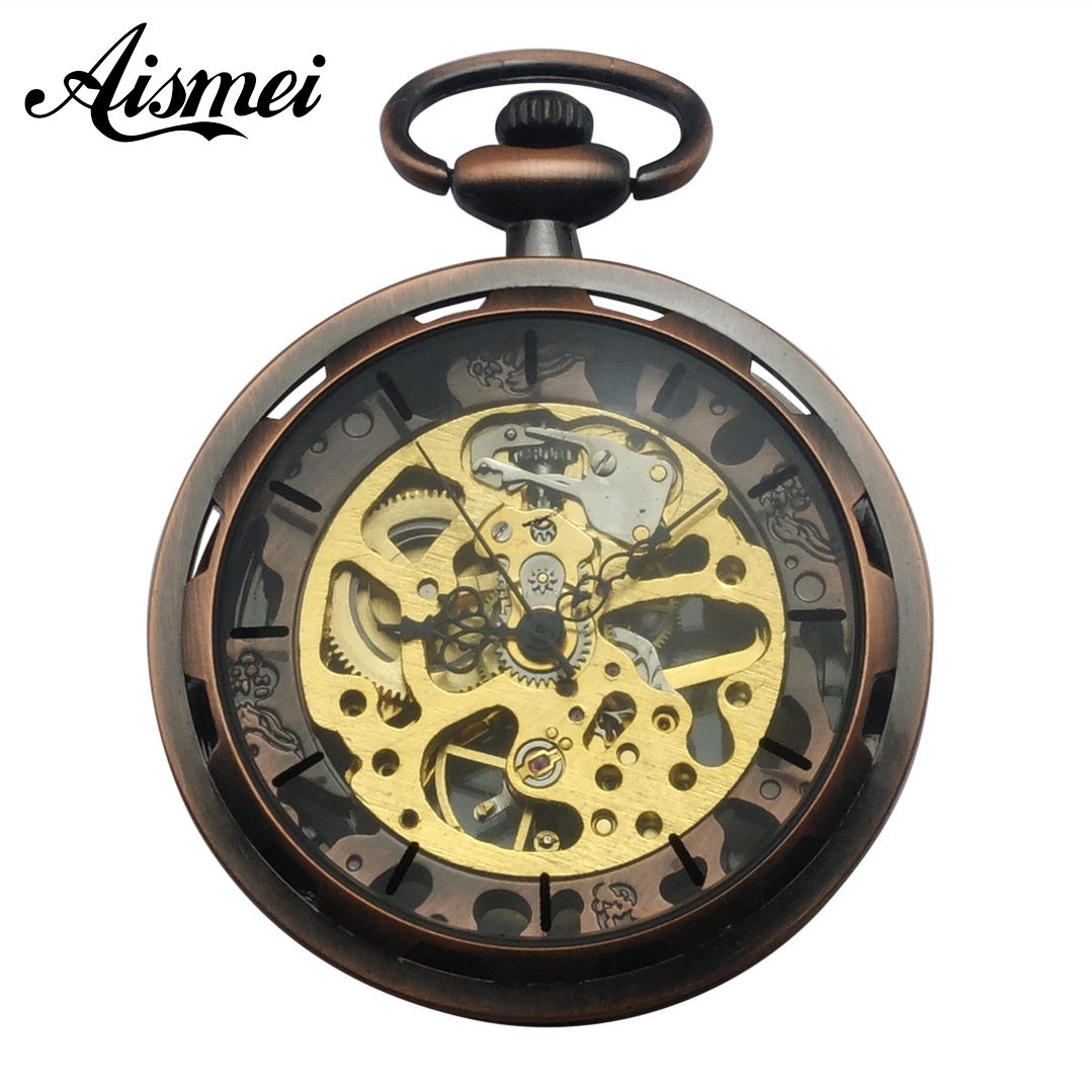 2018 High-grade Hand Wind Mechanical Pocket Watch for men and women Skeleton Gears No Cover Watches With Gift Box black web hollow design skeleton black mechanical hand wind pocket watch with chain box bag strap for men women best gift sets page 5