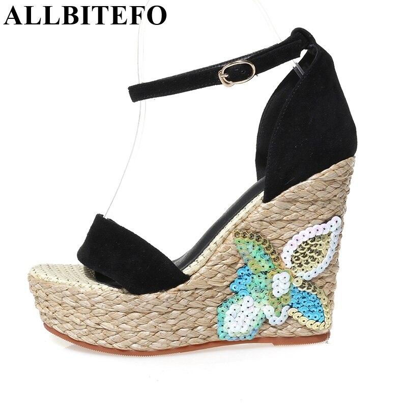 ФОТО ALLBITEFO Ankle Strap women sandals wedges buckle fashion Glitter peep toe sandals summer sheepskin platform high heel sandals