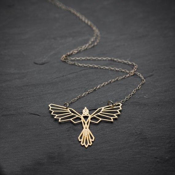 NianDi Bird Necklace Origami Phoenix Necklace Geometric Phoenix Bird Pendant  .Bird Jewelry Party Accessories YLQ0562 43239fc7d