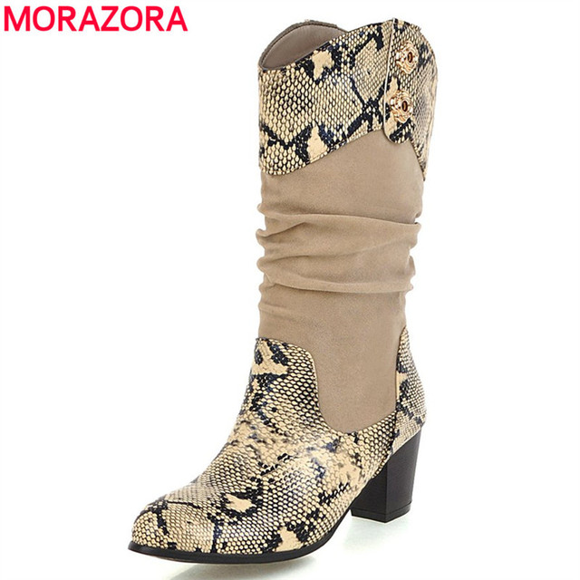 5460f93ef US $27.82 48% OFF|MORAZORA Plus size 34 43 New fashion mid calf boots  ladies thick high heels autumn winter Western boots female half boots  women-in ...