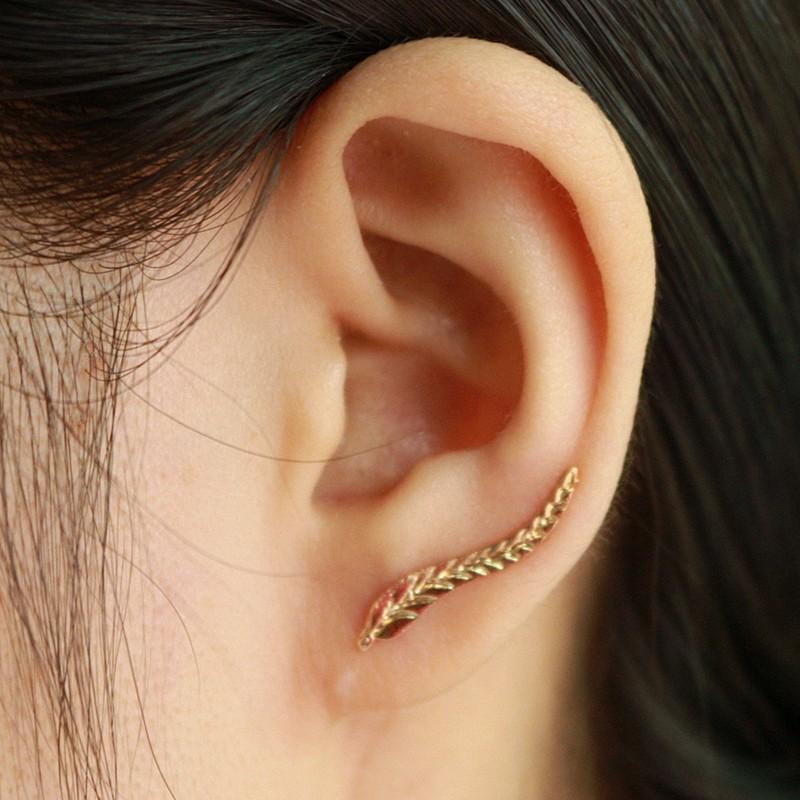 HTB1gpuGNXXXXXcXaXXXq6xXFXXX8 Golden | Silver Leaf Feather Stud Earrings For Women