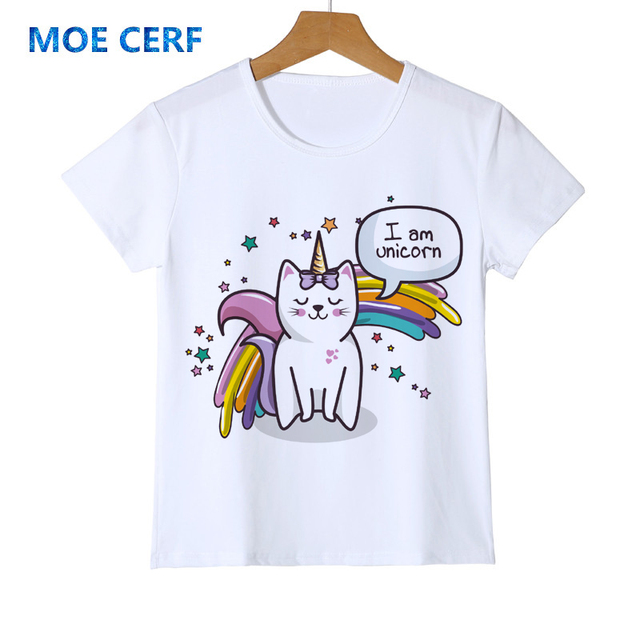 c754fb73 Cat Unicorn Rainbow girl t shirt baby tee kawaii cat cartoon animals tops  shirt camiseta feminina children's clothing Y14-20