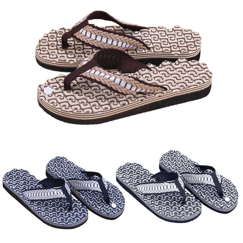 5946ad14c1b4f0 New 1Pair Summer Soft Casual Men Flat Wedge Sandals Thong Flip Flops  Massage Slipper Beach