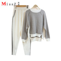 European Women High Quality Knitted Mink Cashmere Suits Fashion Sweater Trousers Pedicure Winter Two Pieces Wool