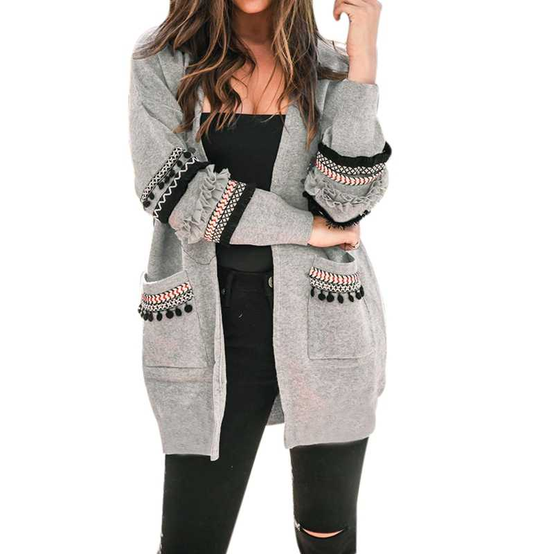 NEW 2019 Women Long Sleeve Knitted Cardigan Sweater Casual Autumn Coats Outwear Fashion  Winter Harajuku Veste Femme