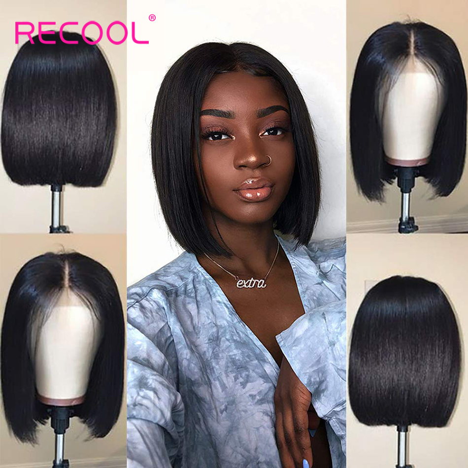 Recool Short Cut Bob Wigs Lace Front Human Hair Wigs Brazilian Straight Bob Lace Front Wig